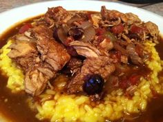 DJ Dave Diner 11/12 Chicken Mole - Savory Tex-Mex flavors going on here, as I combined chicken, onion, cumin, coriander, cinnamon, ancho chiles, tomato, garlic, chocolate, and raisins. Put the whole thing over saffron risotto, and the only thing better than having it hot, is eating the leftovers for breakfast. ¡Que sabor!