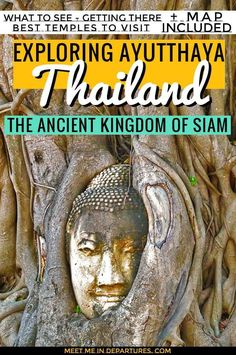 Everything you need to know about visiting the UNESCO World Heritage listed Ayutthaya temples. Where to see the iconic Buddha head entangled in the fig tree, as well as a giant slumbering Buddha at this Ancient Kingdom of Siam just 2 hours from Bangkok. How to get there, what to see and more. MAP & INFORGRAPHIC INCLUDED #SEAsia #Thailand #Ruins #Ayutthaya #UNESCO