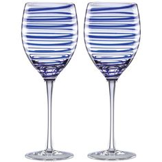 kate spade new york Charlotte Street Collection 2-Pc. Wine Glasses Set (£24) ❤ liked on Polyvore featuring home, kitchen & dining, drinkware, home furnishings, cobalt blue spiral, set of 2 wine glasses, cobalt blue wine glasses, colored wine glass, kate spade and twin pack