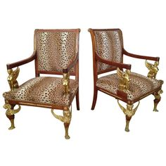 "French 19th c. Pair of Gilt Bronze Mounted Empire Style ""Thrones"" 