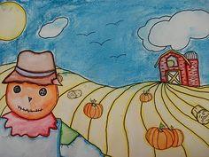 a faithful attempt: K-12 art projects & inspiration: One Point Perspective Pumpkin Patch Landscape