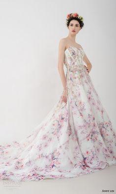 anny lin bridal 2016 felicia strapless romantic multi colored floral print wedding dress sweetheart neckline