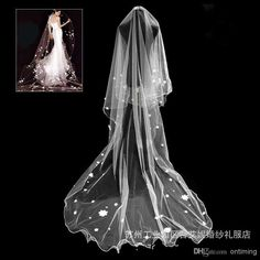 Wholesale High Low Wedding Dress - Buy DN Cheapest Long Bridal Veils Peals Pretty Flowers Hand Two Layers Tulle White In Stock Long Bridal Veil Accessories, $29.32 | DHgate
