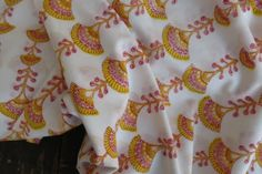 PINK YELLOW FLORAL INDIAN BLOCK PRINT FABRIC BY THE YARD-HF73