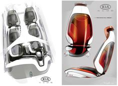 Sketching: seat design kia ray