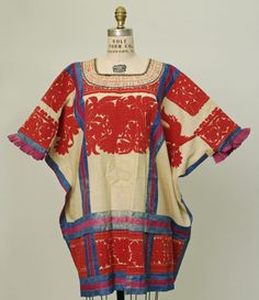Mexican Huipil. Red, blue and creamy white. Embroidery.