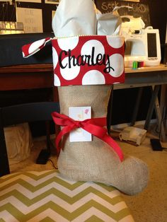 Burlap Christmas stocking Red and White Polka Dot by cococouture, $29.00