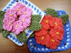 ergahandmade: Crochet Motif With Flowers + Free Pattern Step By Step