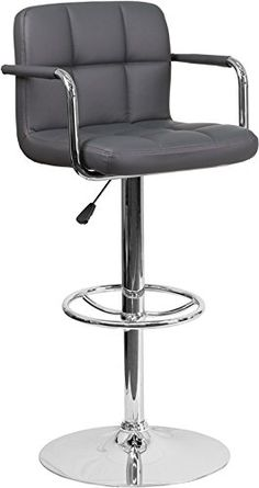 ComfortScape Contemporary Gray Quilted Vinyl Adjustable Height Barstool with Arms and Chrome Base