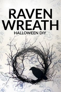 DIY Halloween Wreath » Make a spooky wreath for your door this Halloween, featuring a raven and a moon.» Jessica Andersdotter