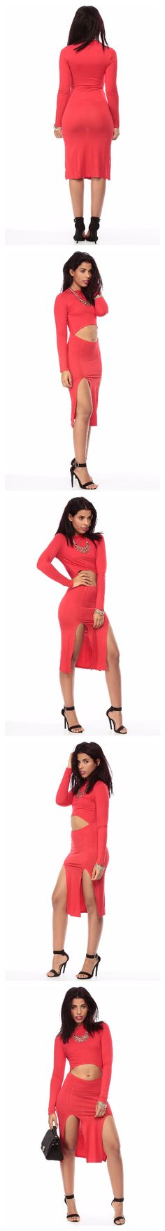 Bold in Red Body Con Double Slit Dress $13.99 We totally love showing skin and this dress shows off why! It features a mini turtle neck, front bodice cut out, long sleeves, double slits and a body con fit. Pair this dress with your fave strappy stilettos to complete your hot night look.  96% Rayon 4% Spandex  Marina Model Stats: Height: 5 5 Waist: 23 Hips: 36 Chest: 33 Model is wearing size Small