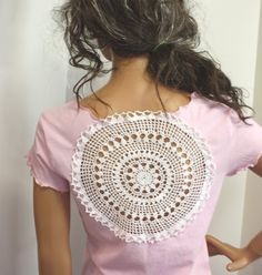 Womens T shirt Crochet Doily Upcycled Tshirt Summer Top Boho Gypsy Hippie Clothes Pink