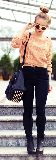 Light Salmon Crop Textured Sweater, Dark Skinnies, Black Purse w/ Studs, Sunglasses, High Bun
