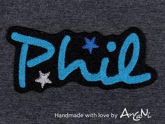 Aufnäher - Applikation Name ♥ Aufnäher Wunschname m. Sternen - ein Designerstück von AnCaNi bei DaWanda