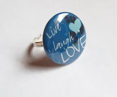 Live Laugh Love Blue Button Hearts Silver by GypsyDreamerCafe, $6.75