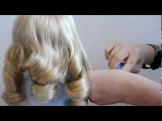 How To Curl Your American Girl Doll's Hair ♥ Lanie ♥ from agoverseasfan. (need to try this on my wavy haired doll!)