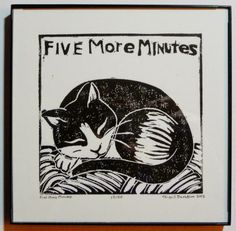 © Abigail Davidson; Five More Minutes, Sleeping Tuxedo Cat -- printmaking, framed view