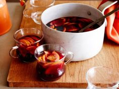 Mulled Red Wine Sangria recipe from Bobby Flay via Food Network Best Thanksgiving Recipes, Thanksgiving Cocktails, Christmas Cocktails, Holiday Drinks, Holiday Recipes, Thanksgiving Menu, Party Drinks, Holiday Ideas, Nye Ideas