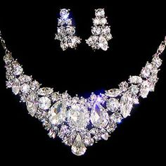 Swarovski Crystal Wedding Necklace Earring Set, Vintage Inspired Floral Rhinestone Bridal Jewelry set,  Bridesmaid Jewelry-113023138