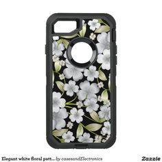 Elegant white floral pattern iPhone 7 case