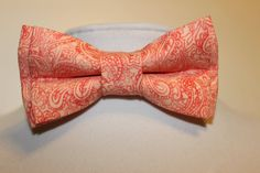 Coral Paisley Bow Tie by Veronicasbowties on Etsy, $7.00
