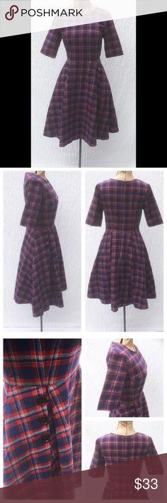 "New Eshakti Plaid Fit & Flare Dress XS 2 New Eshakti navy & red flannel fit & flare dress XS 2 Measured flat: underarm to underarm: 31 ½"" Waist: 27"" Length: 38""  Eshakti size guide for 2 bust: 33""  Princess seamed bodice, seamed waist, hidden back zipper, knife pleated flared skirt w/ side seam pockets. Lined in polytaffeta. Cotton, woven brushed plaid, soft feel, no stretch. New w/ cut out Eshakti tag to prevent returning to Eshakti eshakti Dresses"