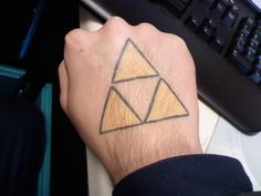 Legend of Zelda triforce tattoo. If you get one, it MUST be on your hand.