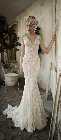 gorgeous mermaid lace vintage wedding dresses