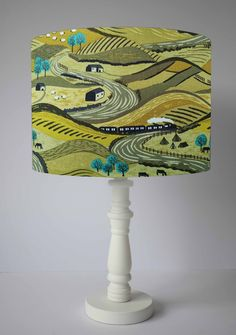 British Landscape Lampshade, Countryside Scene, Country Home Accessories, Scenic Lamp Shade For Tabl Green With Blue, Shades Of Green, Adventure Nursery, Floor Standing Lamps, British Countryside, Green Landscape, Natural Home Decor, Ceiling Pendant, Lamp Bases