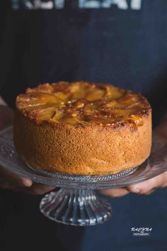 Eggless Apple upside down cake is moist, dense and beautiful cake with hint of cardamom and cinnamon. Try this moist apple cake this summer. Eggless Apple Cake Recipe, Wheat Cake Recipe, Vegan Apple Cake, Eggless Chocolate Cake, Eggless Recipes, Eggless Baking, Apple Cake Recipes, Plum Upside Down Cake, Egg Free Cakes