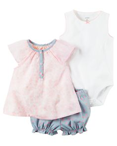 Baby Girl 3-Piece Bubble Short Set Complete with a breezy top, a cute bodysuit and bubble shorts, this 3-piece set is perfect for spring.