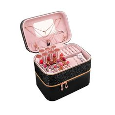Βαλιτσάκι κοσμημάτων Make Up Organiser, Jewelry Organization, Suitcase, How To Make, Pink, Rose, Makeup Organizer Case, Jewelry Storage, Hot Pink