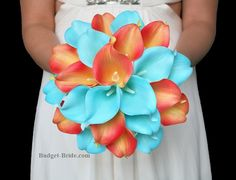 Coral and Tiffany blue Calla Lily Wedding Flowers