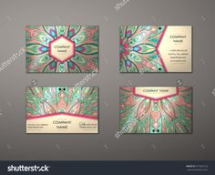 Vector Vintage Business Card Set. Floral Mandala Pattern And Ornaments. Oriental Design Layout. Islam, Arabic, Indian, Ottoman Motifs. Front Page And Back Page. - 471823133 : Shutterstock