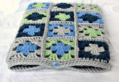 grey and blue crochet