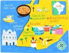 Salvador, Brazil map* - Patrick O'Leary Illustration