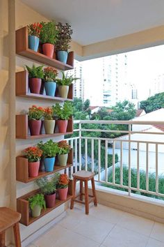 Balcony garden shelves.