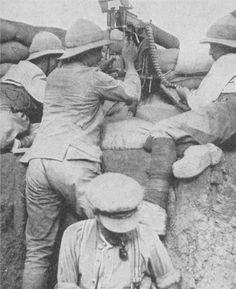 Allied forces positioning a machine gun in Gallipoli. WW I