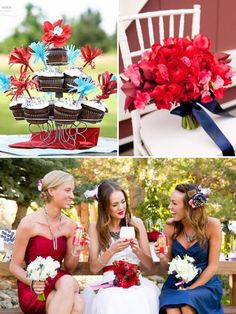 Red, white, and blue wedding. (Fourth of July Wedding Ideas - WV WEDDINGS - http://www.mywvwedding.com/Planners-Palette/July-2012/Patriotic-Promise/)