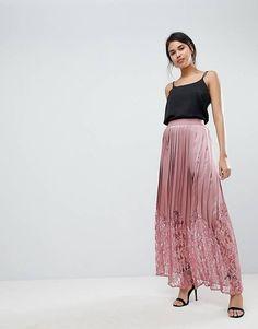 Little Mistress Lace Pleated Maxi Skirt