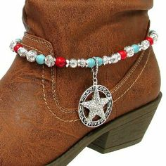 """Fashion Jewelry ~ Red Turquoise and Silver Beads Accented with Western Star Charm Pendant Boot Charm Anklet (Style Boot Charms 028b 24 ) Variety Gift Shop Fashion Jewelry. $14.95. Size: Total length: 12"""" L with 2.5"""" L extension     Beads: 8mm-10mm     Pendant: 1.5"""" L x 1.5"""" W     Color: Silver, Red, Turquoise     Style: Beaded boot charm with western star pendant.. ** BOOT NOT INCLUDED **. 1 Piece"""