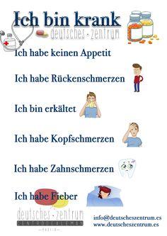 Ich bin krank. Deutsch Alemán Wortschatz Vocabulario DAF