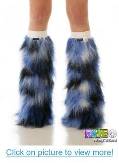 Velocity Fluffy Leg Warmers with White Kneebands - Rave Costume Fluffies