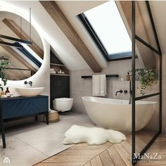 scandinavian bathroom Bathroom Inspiration // MaNaZa The Perfect Scandinavian Style Home Loft Bathroom, Dream Bathrooms, Beautiful Bathrooms, Modern Bathroom, Small Bathroom, Bathroom Flooring, Bathroom With Window, Minimalist Bathroom Design, Relaxing Bathroom