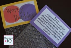 Worry Bubbles are a fun way for kids reframe concerns and put them in perspective while popping bubbles. They are great for counseling, classroom, or to use at home. You can use them in groups or by yourself.