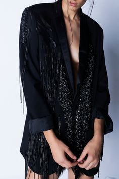 Loose fit, black crepe blazer embellished with black beaded tassels, chains and real leather details. Blues, Jackets, Shopping, Collection, Closet, Women, Fashion, Down Jackets, Moda