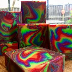 Rainbow 'Clyde Slide'  Soap Challenge - feathered swirl