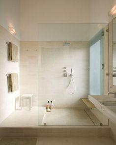 Oversized shower. window covering, drain