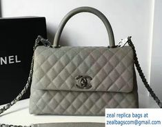 Chanel Coco Top Handle Flap Shoulder Small Bag Grained Calfskin Gray 2017 e7cd3c01c0