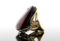 Garnet ring Sterling Silver Baltic Amber Ring Garnet Ring